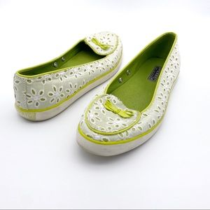 Sperry White and Green Eyelet Flats Size 6.5